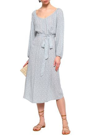 EBERJEY Magda belted printed voile midi dress