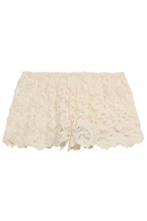 EBERJEY Crocheted cotton-lace shorts