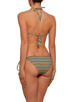 EBERJEY Eva tasseled printed low-rise bikini briefs