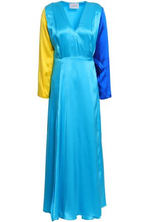 WE ARE LEONE Color-block silk-satin maxi wrap dress