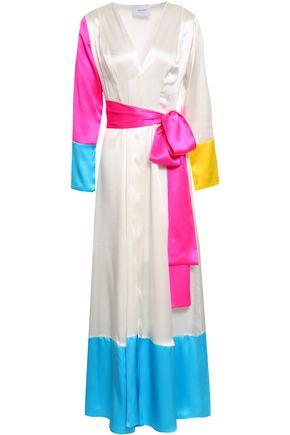 WE ARE LEONE Color-block silk-satin robe
