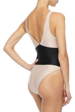 ADRIANA DEGREAS Zip-detailed two-tone swimsuit