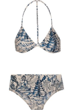 ADRIANA DEGREAS Mesh-trimmed printed triangle bikini