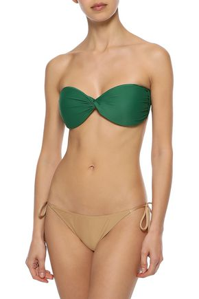 ADRIANA DEGREAS Twist-front two-tone bandeau bikini