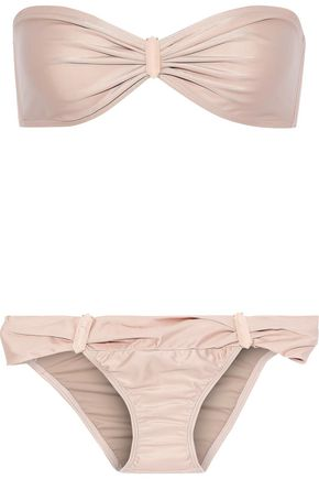 ADRIANA DEGREAS Embellished ruched low-rise bandeau bikini