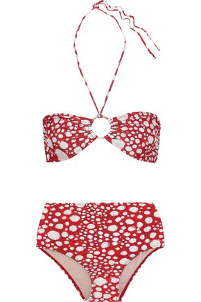ADRIANA DEGREAS Embellished printed halterneck bikini
