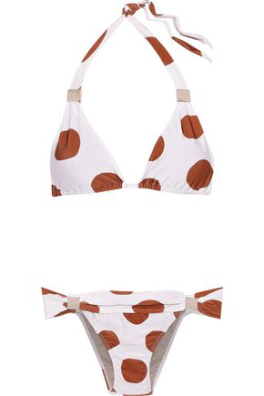 ADRIANA DEGREAS Embellished ruched polka-dot triangle bikini