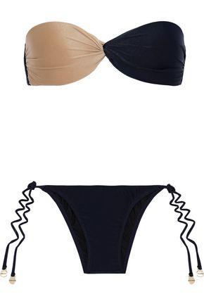 ADRIANA DEGREAS Twist-front two-tone bandeau bikini