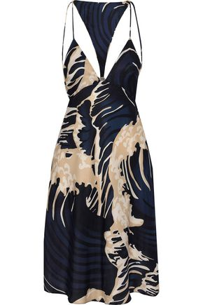 ADRIANA DEGREAS Printed crepe de chine mini dress