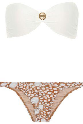 ADRIANA DEGREAS Twist-front printed bandeau bikini