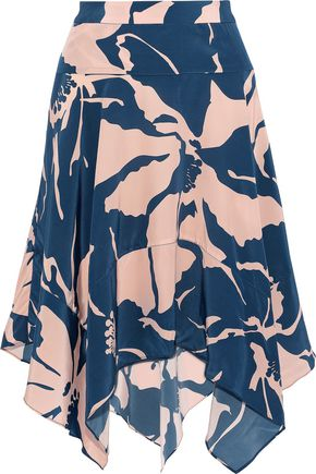 ADRIANA DEGREAS Printed silk crepe de chine skirt