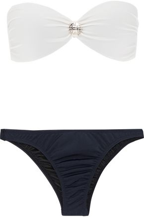 ADRIANA DEGREAS Knotted two-tone bandeau bikini