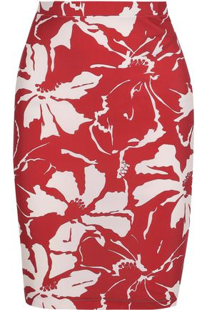 ADRIANA DEGREAS Floral-print stretch-jersey mini skirt