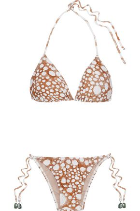 ADRIANA DEGREAS Embellished printed low-rise triangle bikini