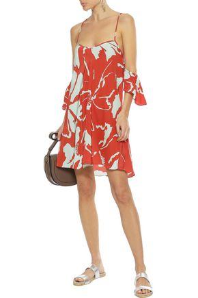 ADRIANA DEGREAS Cold-shoulder ruffled printed silk mini dress