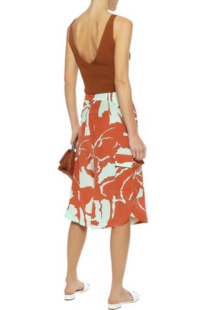 ADRIANA DEGREAS Lace-up printed silk culottes