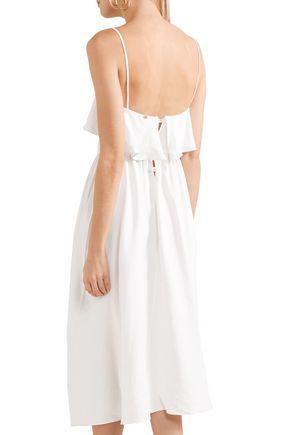 ADRIANA DEGREAS Linen and silk-blend mini dress