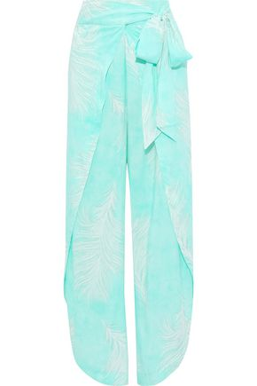 VIX PAULA HERMANNY Liz wrap-effect printed voile wide-leg pants