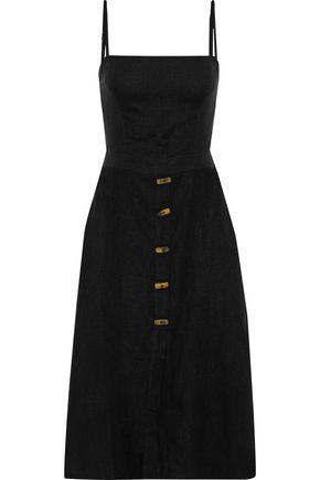VIX PAULA HERMANNY Tie-back button-embellished linen-blend dress