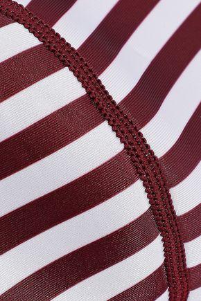 DUSKII Claudia striped neoprene bandeau bikini top