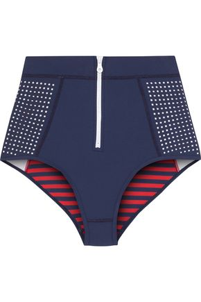 DUSKII Kailua paneled perforated neoprene high-rise bikini briefs