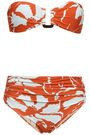 ADRIANA DEGREAS Ruched floral-print bandeau bikini
