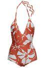 ADRIANA DEGREAS Open-back floral-print halterneck swimsuit