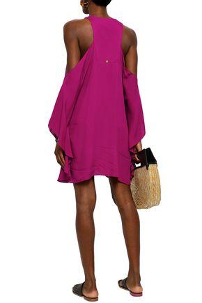 ADRIANA DEGREAS Cutout draped voile mini dress