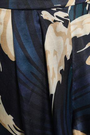 ADRIANA DEGREAS Pleated printed satin shorts