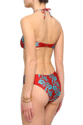 ADRIANA DEGREAS Cutout ruched printed swimsuit