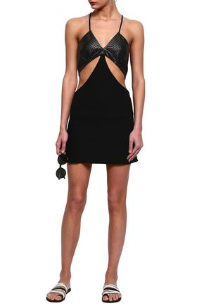 ADRIANA DEGREAS Cutout laser-cut faux leather and jersey coverup