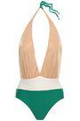 ADRIANA DEGREAS Open-back color-block halterneck swimsuit