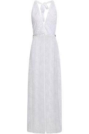 ADRIANA DEGREAS Wrap-effect lace maxi dress
