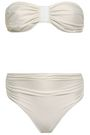 ADRIANA DEGREAS Faux leather-trimmed ruched bandeau bikini