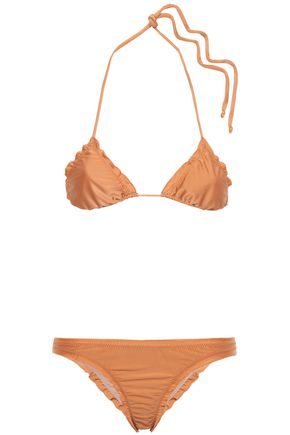 ADRIANA DEGREAS Knotted ruched triangle bikini