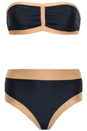 ADRIANA DEGREAS Ruched two-tone bandeau bikini