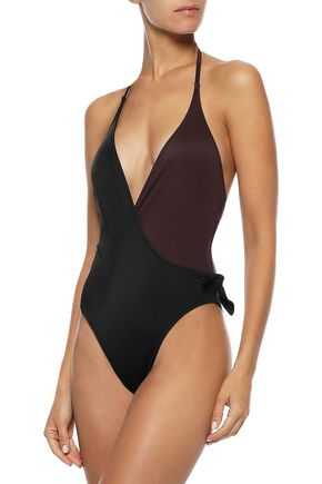 SOLID & STRIPED The Matilde two-tone halterneck swimsuit