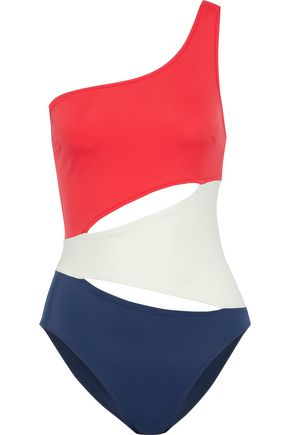 SOLID & STRIPED The Louise one-shoulder color-block cutout swimsuit