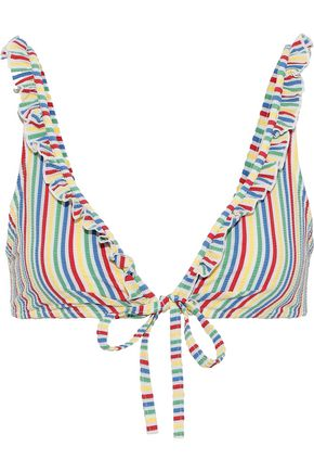 SOLID & STRIPED The Milly striped seersucker triangle bikini top