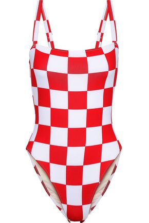 SOLID & STRIPED + RE/DONE The Malibu checked swimsuit