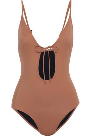 SOLID & STRIPED The Kelsey bow-detailed cutout swimsuit