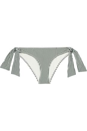 SOLID & STRIPED The Mackenzie striped seersucker low-rise bikini briefs