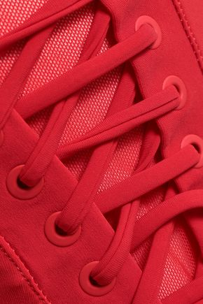 ZIMMERMANN Castille strapless lace-up mesh-trimmed swimsuit