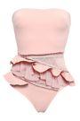 ZIMMERMANN Bayou strapless crochet and point d'esprit-paneled bandeau swimsuit