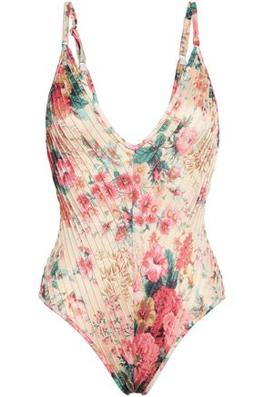 ZIMMERMANN Laelia floral-print pintucked triangle swimsuit