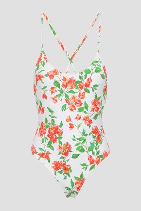 CAROLINE CONSTAS Open-back floral-print swimsuit