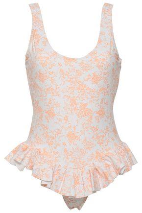 CAROLINE CONSTAS Open-back ruffled floral-print swimsuit