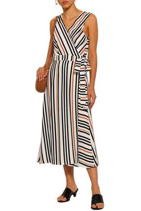 JETS AUSTRALIA by JESSIKA ALLEN Striped printed twill wrap dress