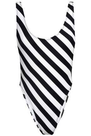 NORMA KAMALI Open-back striped swimsuit