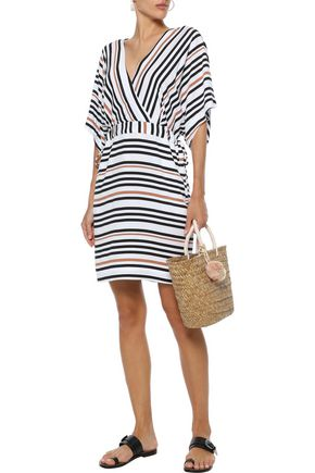 JETS AUSTRALIA by JESSIKA ALLEN Vista wrap-effect striped voile coverup